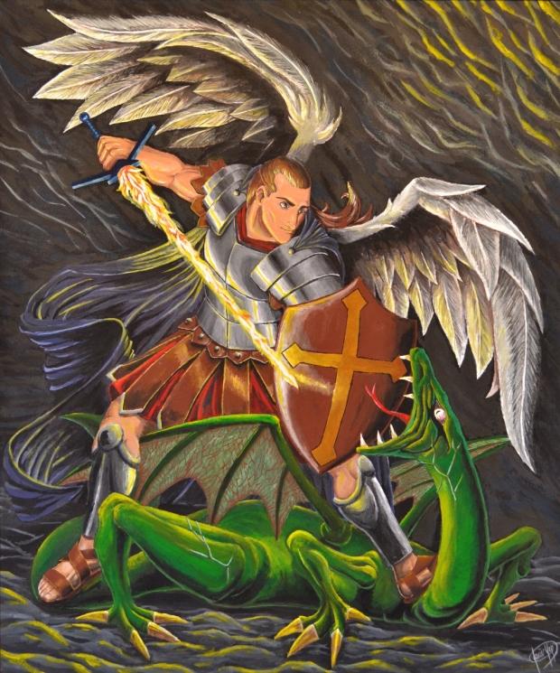 San Miguel Arcángel. Témpera sobre lienzo. 50cm x 60cm