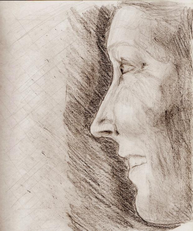 dibujo a lápiz de grafito sobre papel