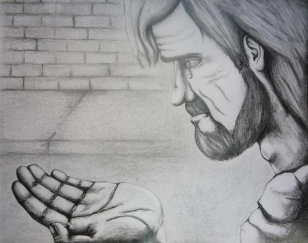 Jesús mendigo, lápiz sobre papel