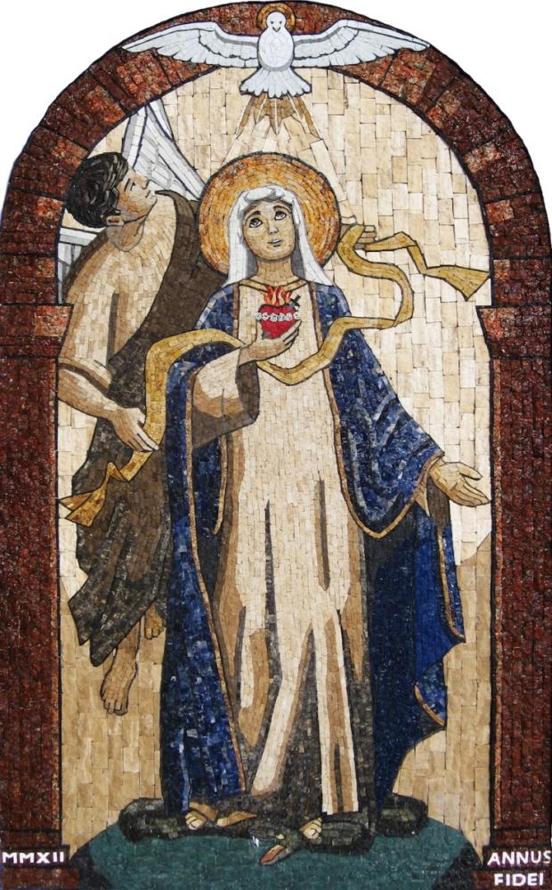 Anunciación-Encarnación.  Mosaico realizado por el Centro de Formación Sodálite Nuestra Señora de Guadalupe. San Bartolo, Lima, Perú. 2012. Mosaico de mármol y granito.