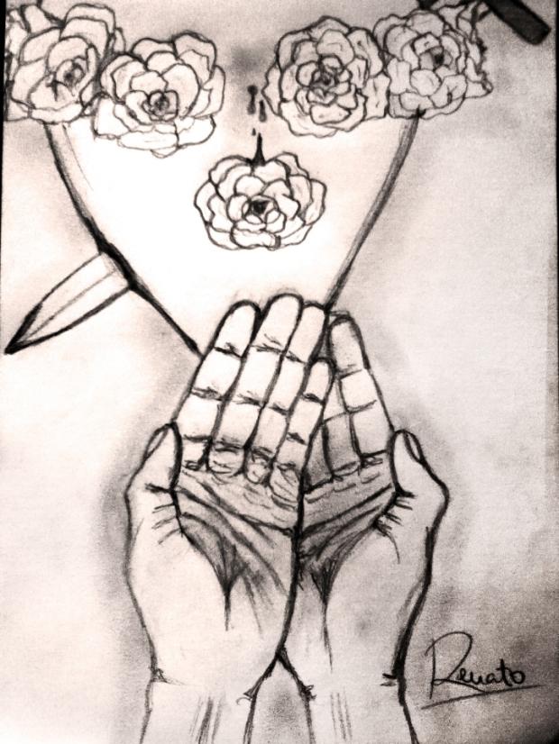 Una rosa del Inmaculado Corazón. Lápiz sobre papel. Por: Renato García Benavides
