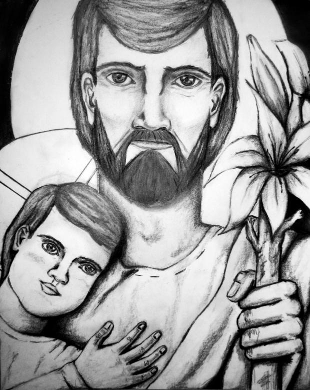 San José custodio, dibujo a lápiz sobre papel